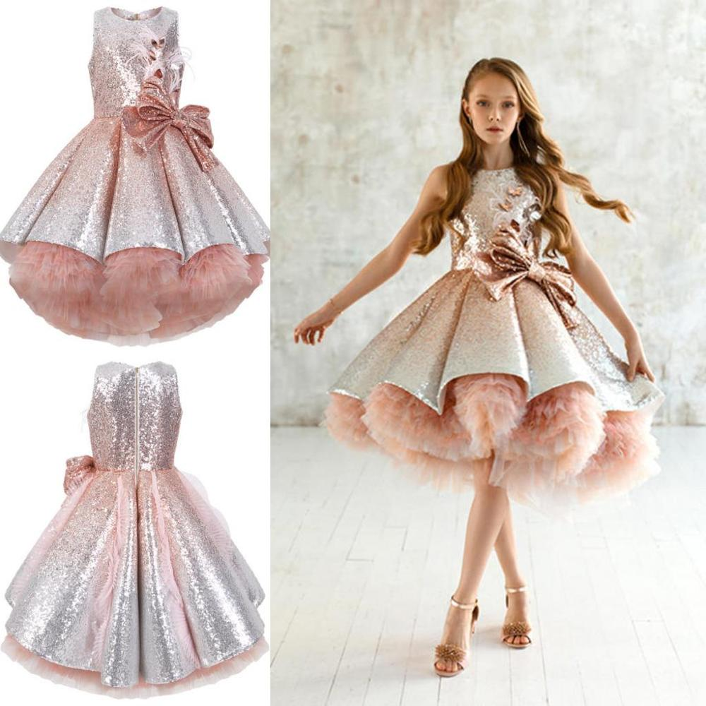 Shiny Knee Length   Flower     Girl     Dresses   with Bow Sash Feathers   Girls   Ball Gown Sequined Pageant   Dress   Sleeveless Kids Formal Wear