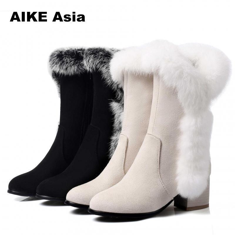 Invierno white Botas Piel tamaño Pelo Calzado Mujer Neve Casual De 45 Mujeres Con Cálido Bota Tobillo Black Conejo Nieve 33 Zapatos wRSqYIq