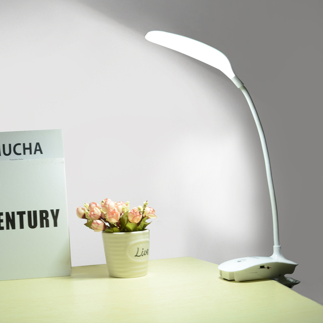 2000mAh LED Touch Switch Clip Flexible Desk Lamp College Dorm Study Reading Light Table Dimmer Rechargeable USB Led Table Lamps