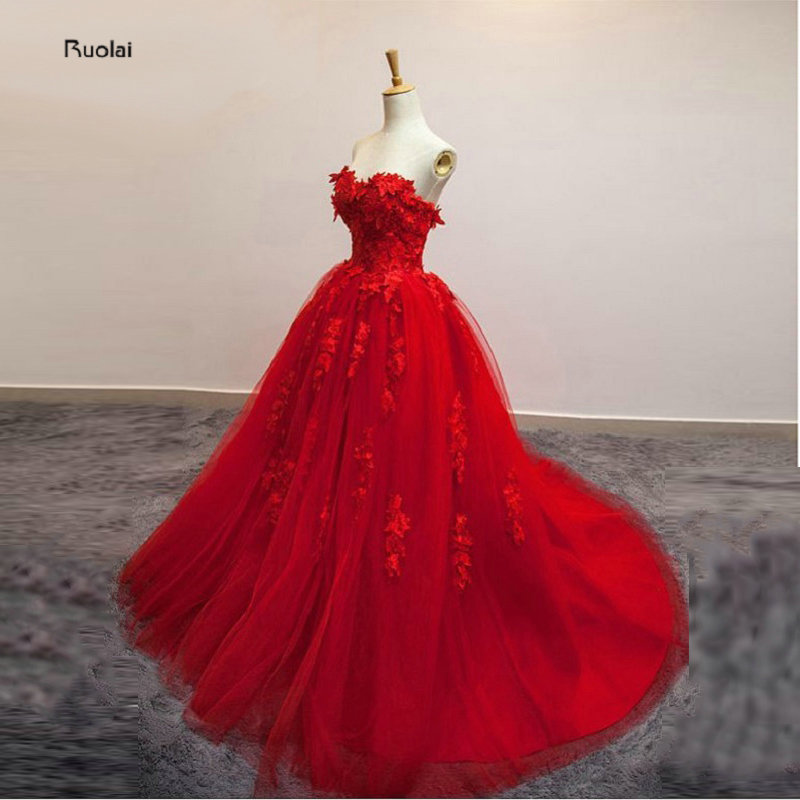 2017 New Charming Red Strapless Flowers Ball Gown Evening Dress Lace Applique Evening Gown Party Dress Prom Dress Lace Up Back
