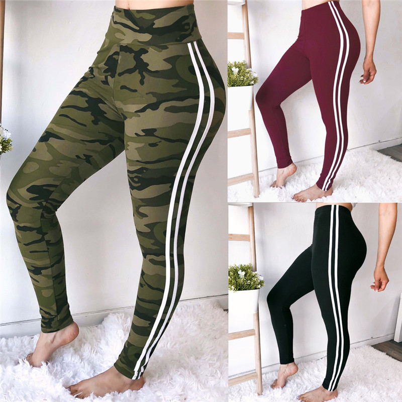 Women Sports   Pants   Fashion Side Stripe Weatpants Slim Workout   Pants   Black Wine Red Camouflage Tummy Control   Capris     Pants