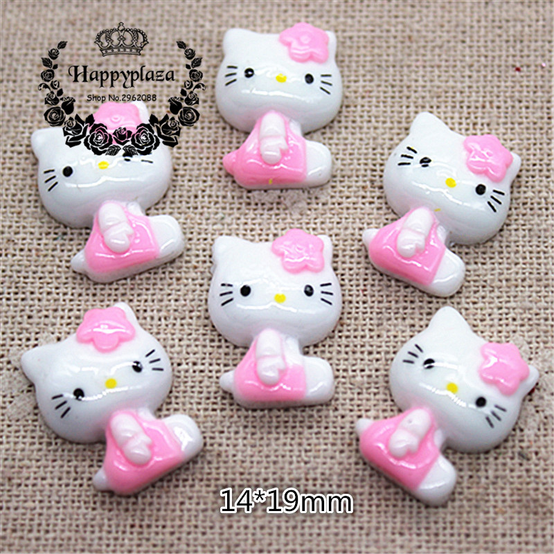 20pcs Kawaii Cat Pink Bow Flatback Resin Cabochon Craft For DIY Hair Bow Center Scrapbooking,14*19mm
