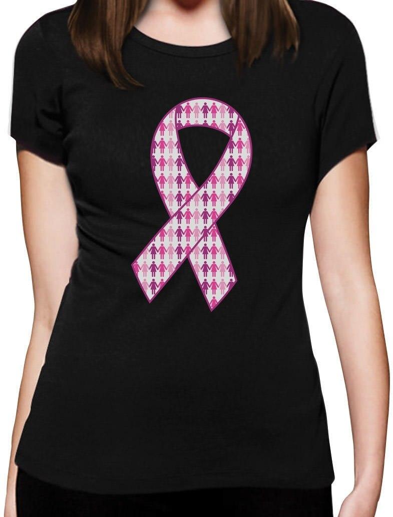120d5a09e 2018 Fashion Support Breast Cancer Awareness - Big Pink Ribbon Women T-Shirt  Fight Cancer Casual Short Sleeve Shirt Tee