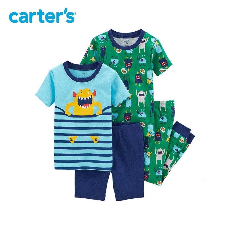 Carter's/4 частей для маленьких детей Детская одежда Мальчик Лето прилегания Хлопковая пижама с изображением монстров 23161616
