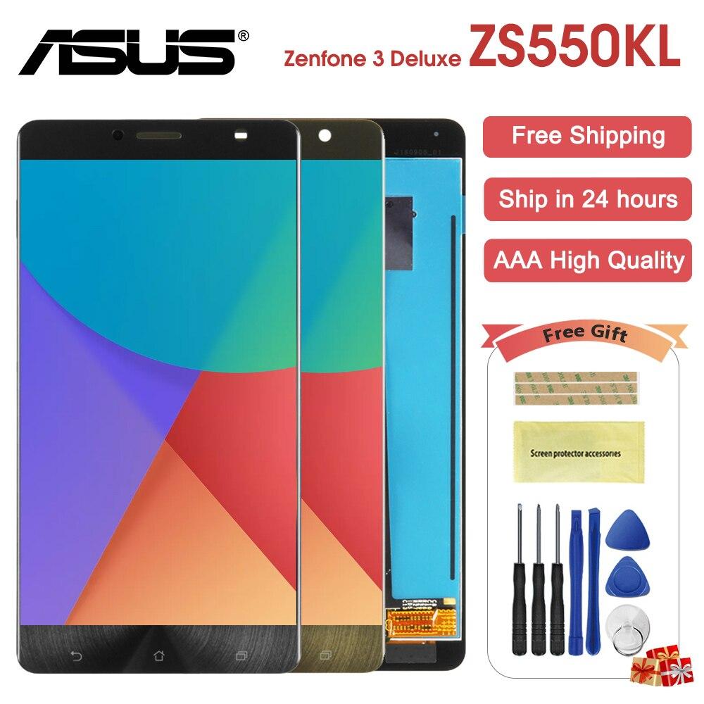 5.5 Noir Pour Asus Zenfone 3 Deluxe ZS550KL Z01FD LCD Écran Tactile Du Panneau D'affichage Capteur Assemblée Verre Pour ASUS ZS 550KL