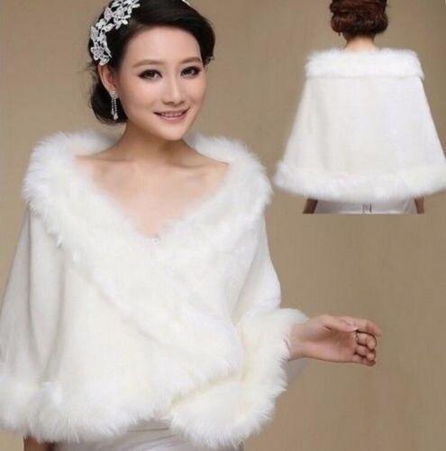 שנהב פו פרווה חתונת צעיף לעטוף משיכת הכתפיים בולרו הכלה מעיל/מעיל