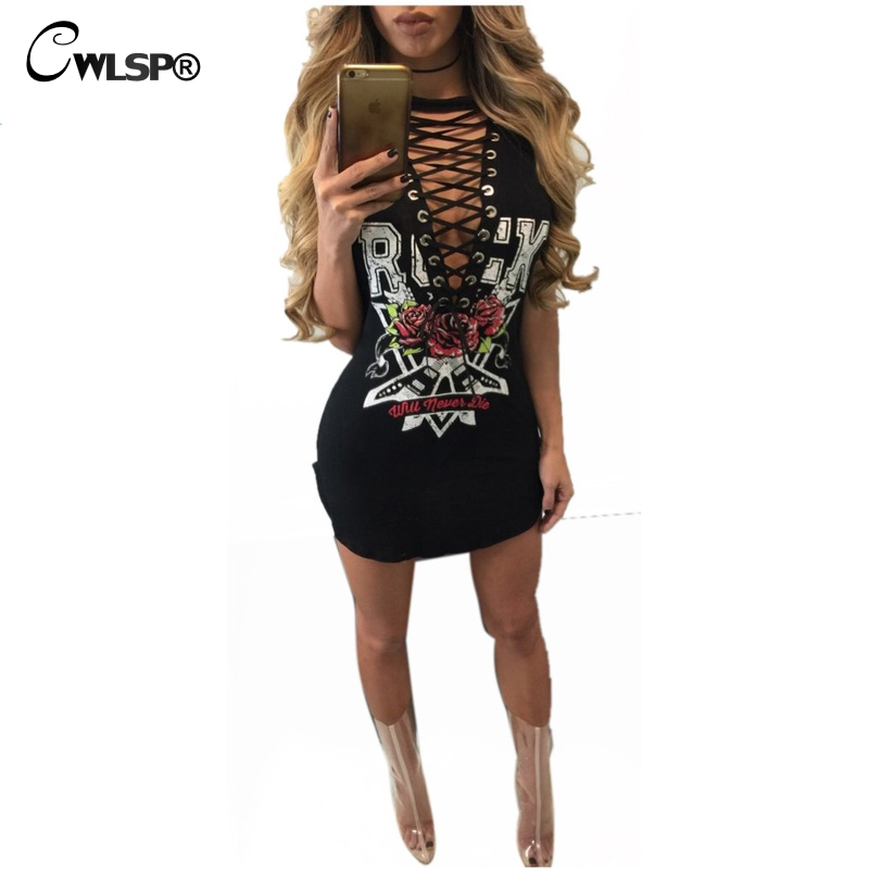 Hot fashion cross lace up t shirt dress women side split sexy mini vestido rock music