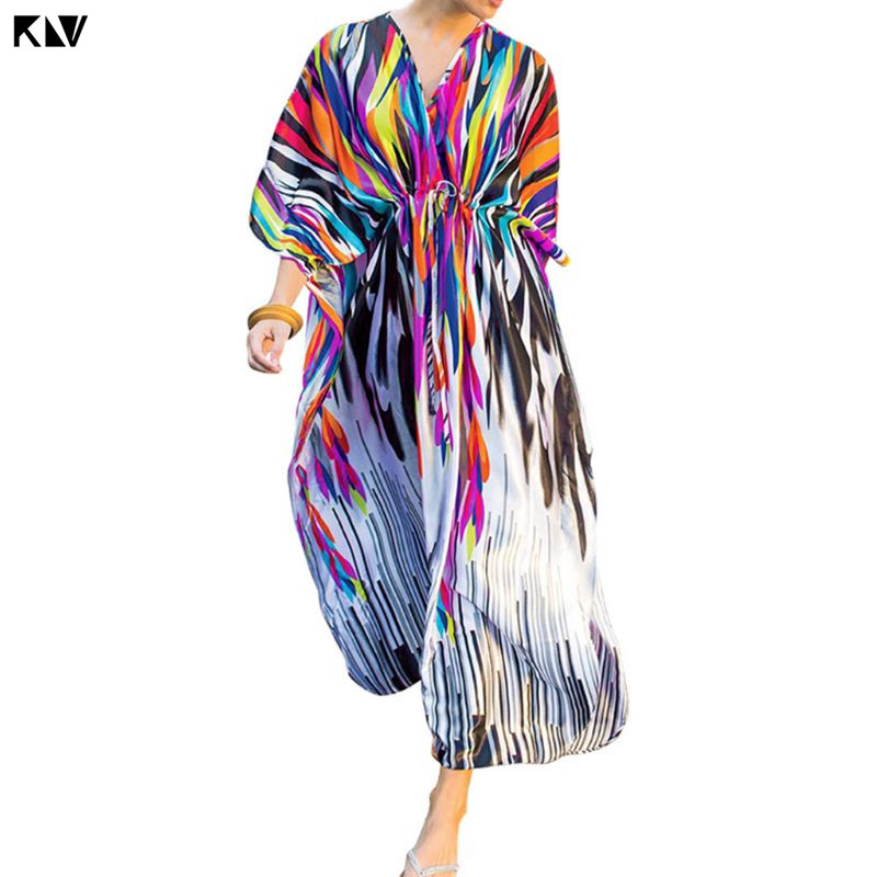 Blouses & Shirts Klv Sexy V-neck Oversized Open Front Kimono Cardigan Rainbow Zebra Stripes Swimsuit Cover Up Drawstring Waist Maxi Kaftan Robe More Discounts Surprises