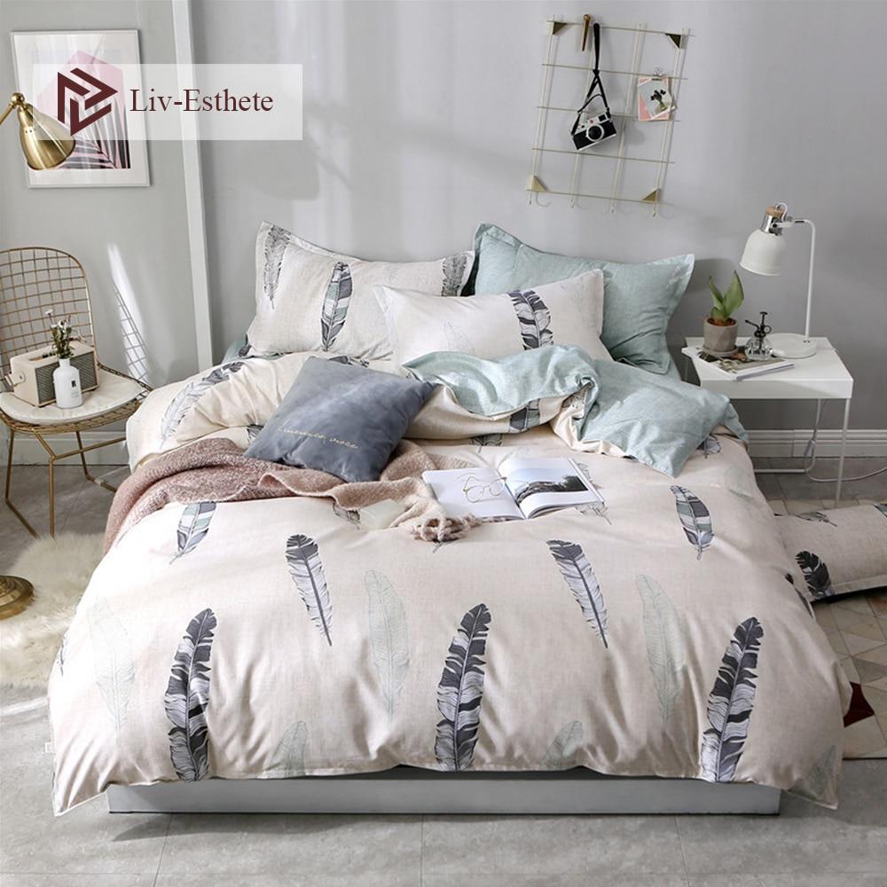 Liv-Esthete Modern Feather Bedding Set Duvet Cover Flat Sheet Double Queen King Adult Kids Bed Linen Wholesale Bedspread