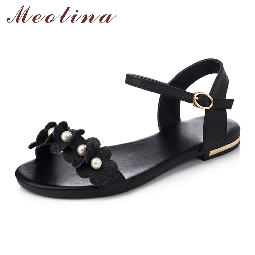 Meotina Genuine Leather Sandals Shoes Women Flower Flat Sandals Plus Size 34-43 Real Leather Shoes Causal Beading Ladies Shoes