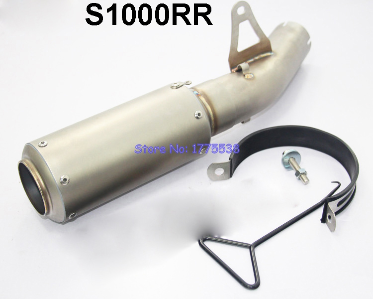 S1000RR Modified Motorcycle Stainless Steel and Real Carbon Fiber Exhaust Muffler Pipe for 2014 2015 B-M-W S1000RR laser marking motorcycle modified muffler sc carbon fiber exhaust pipe 61 caliber exhaust for for kawasaki er6n bmw s1000rr