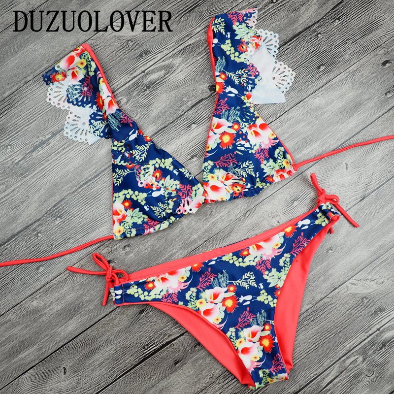2017 Sexy Ladies V Neck Floral Hollow Out Thong Biquini Ruffled Swimsuit Printed Swimwear Bikinis Women Brazilian Bikini set hollow out swimsuit