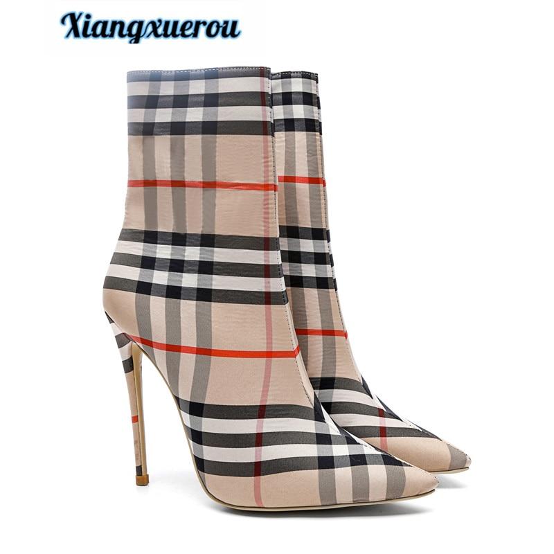 Xiangxue 2018 зима новый европейский и американский стиль моды цзывэнь указал тонкие с Большие размеры женские сапоги на высоком каблуке