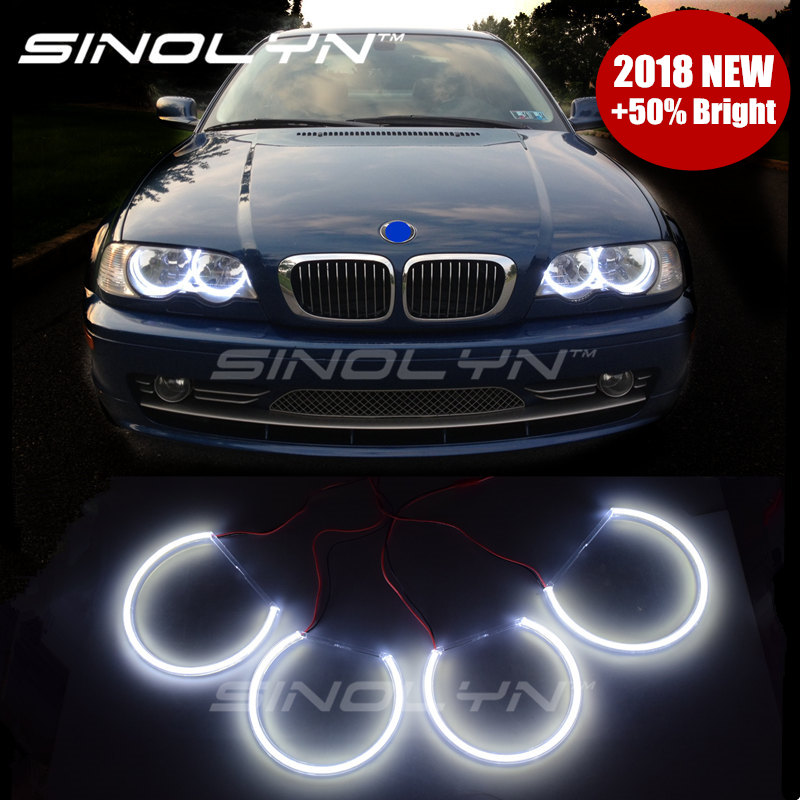 For Bmw E46 Angel Eyes LED COB Lights Halo Rings 1999-2004 Non projector Retrofit DIY Kit 131mm+146mm, 6 Time Brighter than CCFL цены