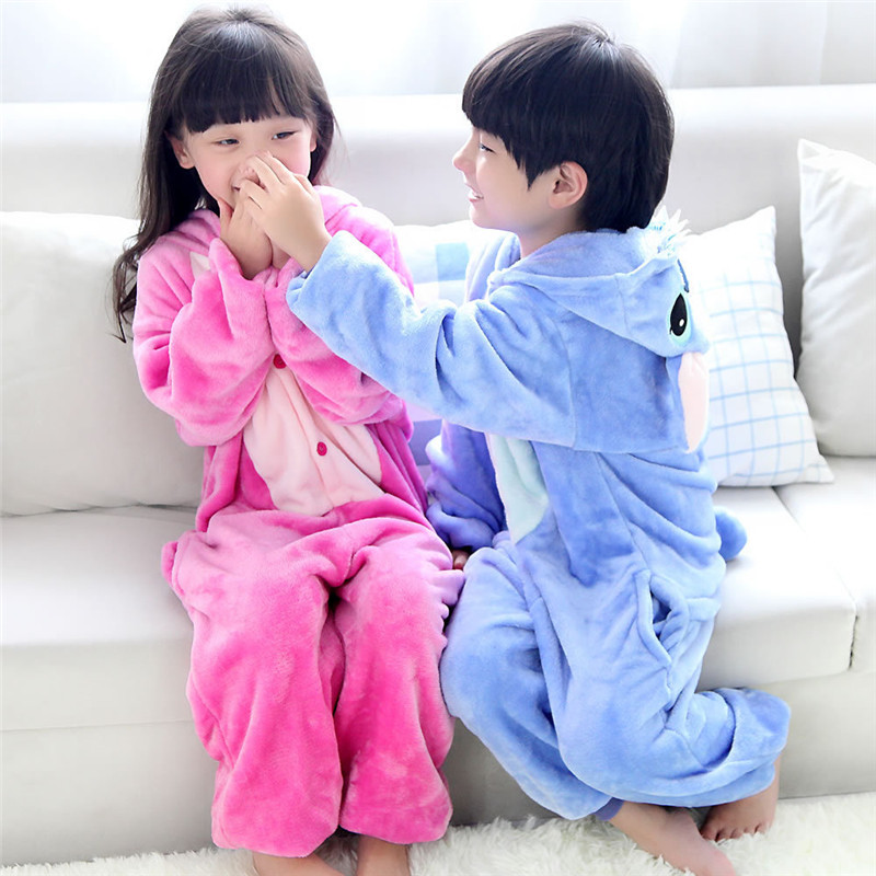 Animal Pajamas for Kids Childrens Autumn Winter Blue Pink Stitch Baby Girls Sleepwear Flannel Warm Pyjamas Kids Onesie