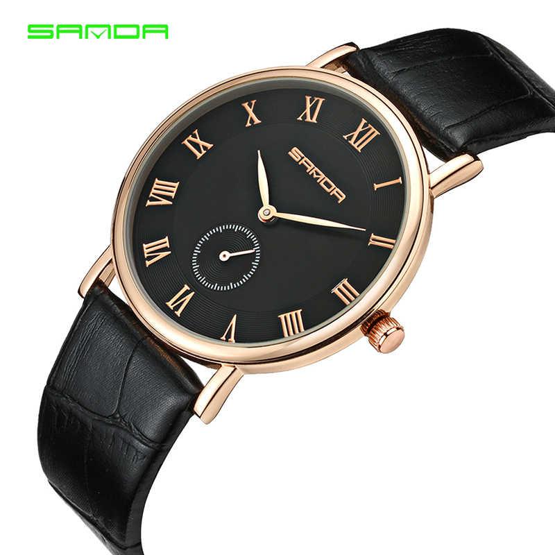 2018 SANDA แบรนด์นาฬิกาผู้ชายกีฬาควอตซ์นาฬิกาข้อมือแฟชั่นหนังสายนาฬิกานาฬิกาแฟชั่นผู้ชายนาฬิกา Relogio masculino