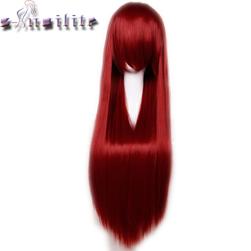 S-noilite 80cm 32 Inches Long Straight Wig Heat Resistant Synthetic Hair Party Cosplay Wigs Red Purple Pink Black