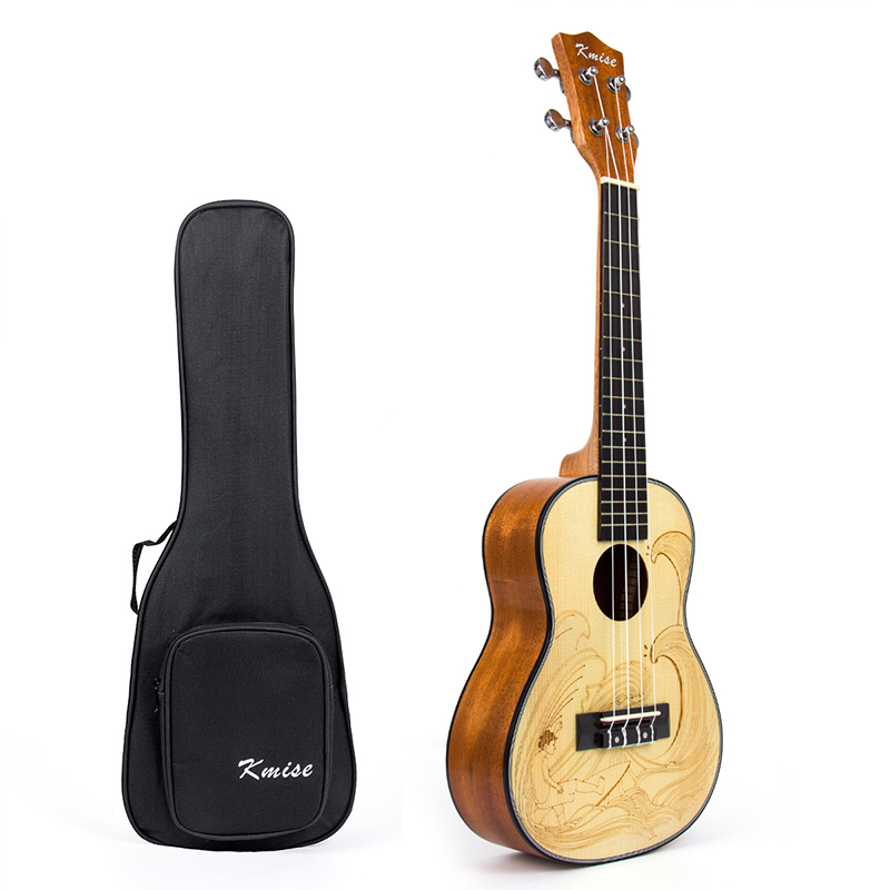 Kmise Concert Ukulele Spruce 23 inch Ukelele Uke 4 String Hawaii Guitar with Gig Bag