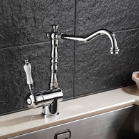 Free Shipping Kitchen Faucet Single Handle Kitchen Sink Faucet Chrome Swivel Sink Faucet Deck Mounted Water