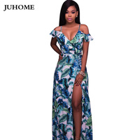 2017 Brand New Summer Sundress Floor Length Printed Beach Boho Sexy Tunic Dress Side Slit V