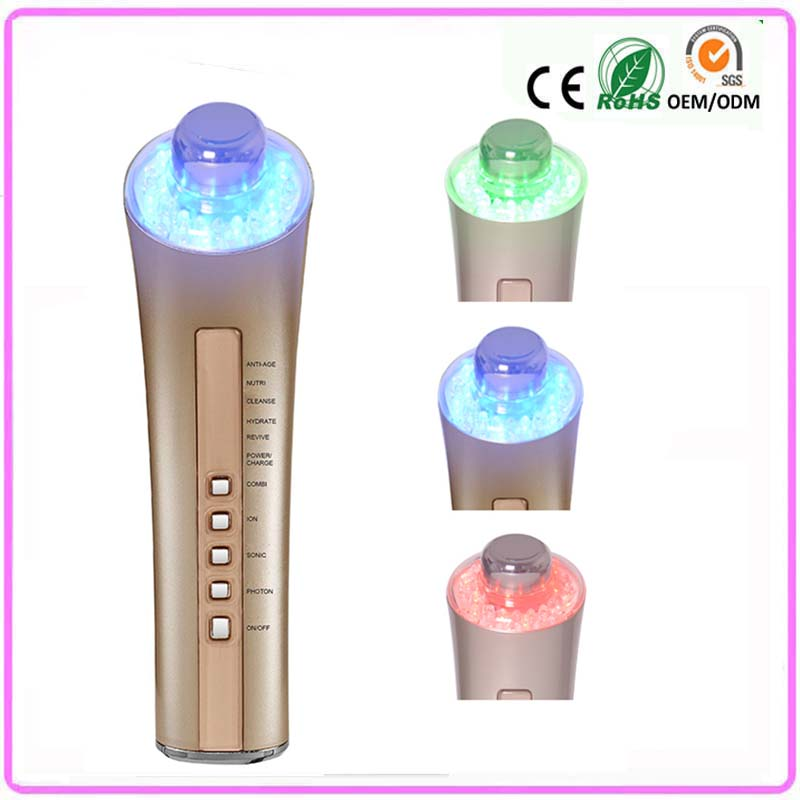 3MHZ Galvanic Ultrasonic 3 Led Lights Photon Skin Rejuvenation Anti Acne Wrinkle Facial Firming Beautiful Health Instruments anti acne pigment removal photon led light therapy facial beauty salon skin care treatment massager machine