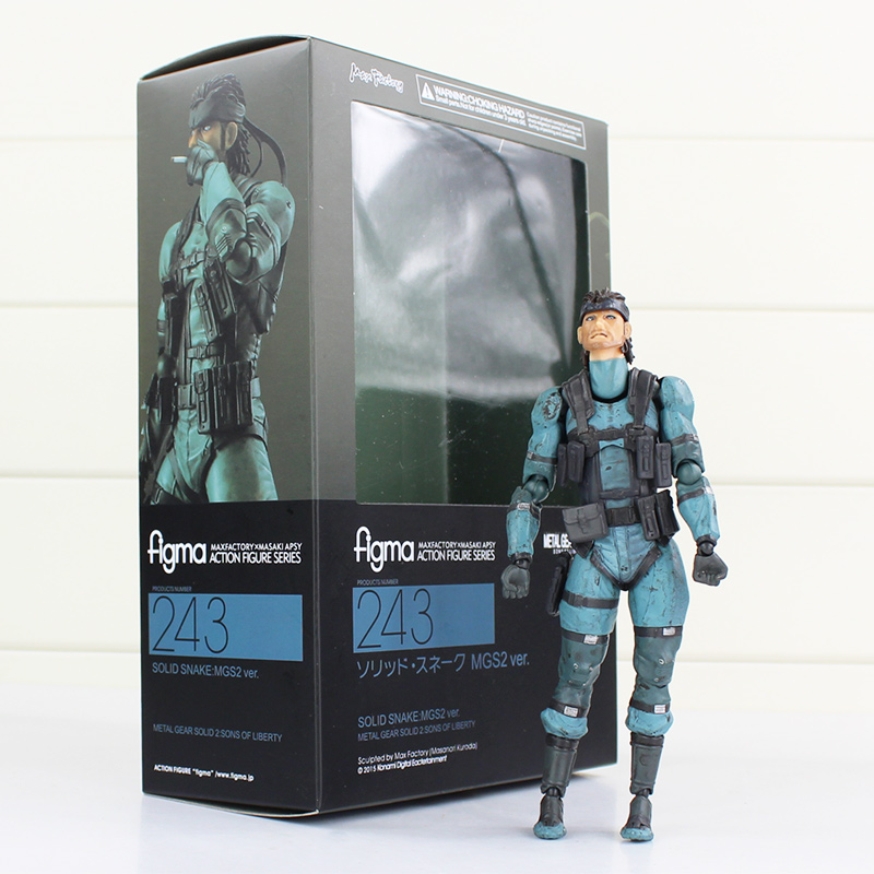 J.G Chen METAL GEAR SOLID 2: SONS OF LIBERTY Figma 243 Snake PVC Action Figure Collectible Model Toy 15cm new metal gear solid v action figure toys 16cm mgs snake figma model collectible doll mgs figma figure kids toys christmas gifts