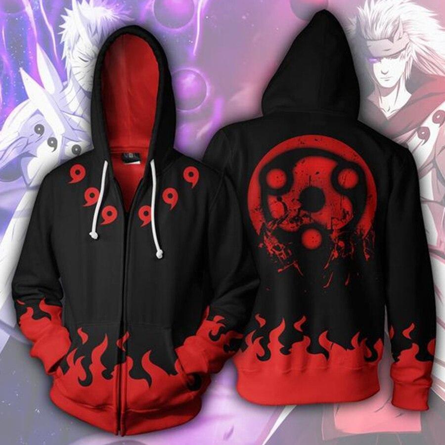Anime Naruto Uchiha Sasuke Cosplay Costume Men 3D Printed Zipper Hoodies Sweatshirt 5XL