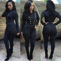 2016 New black button suits woman jumpsuits fashion bodycon workwear one piece clothing full length slim rompers 5149