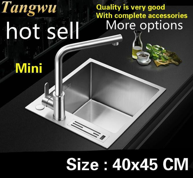 Livraison gratuite Standard ménage cuisine manuel évier simple auge petit durable 304 acier inoxydable vente chaude 400x450 MM