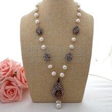 """N062903 2"""" Белое жемчужное ожерелье Кеши подвеска друзы"""