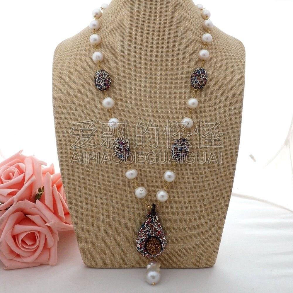 N062903 24 White Keshi Pearl Necklace Druzy Pendant