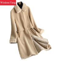 Элегантная зимняя теплая шерстяная шуба из овечьей шерсти цвета хаки, норковая шуба с воротником для волос, женские пальто большого размера