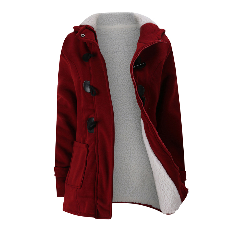 Free Shipping 2018 Winter Fashion Womens Hooded Horn Button Trench Outerwear Casual Thick Fleece Solid Color Warm Womens Coat
