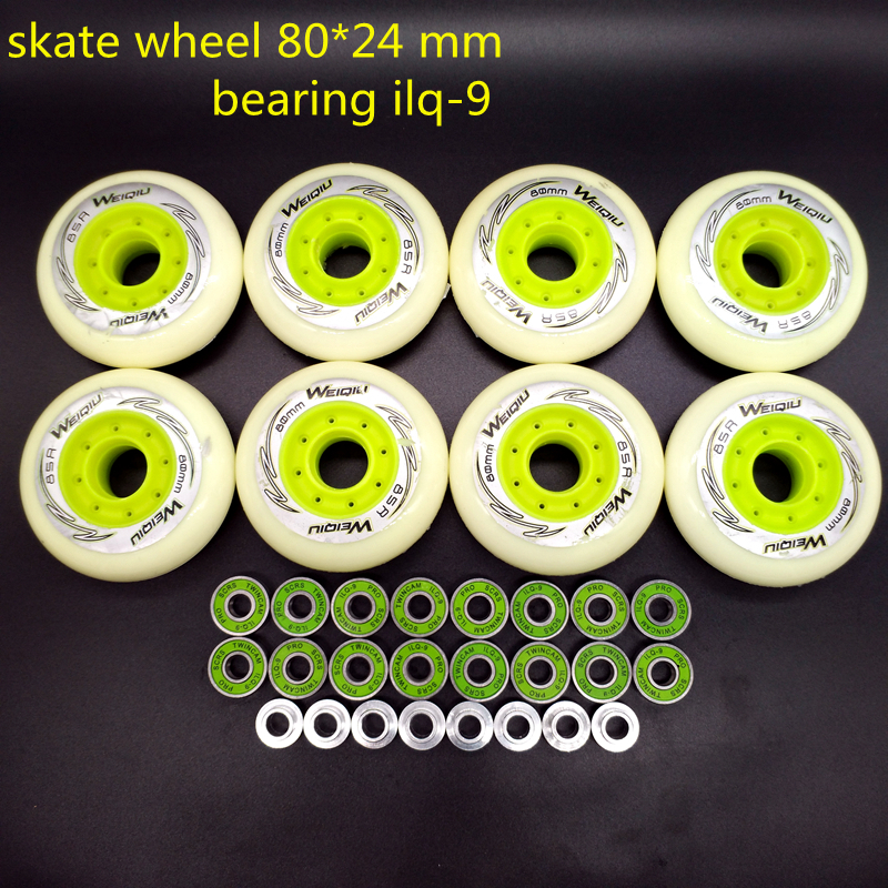 Free Shipping Roller Wheel Skate Wheel 80 Mm 8 Pcs / Lot  85 A Bearing ABEC-9