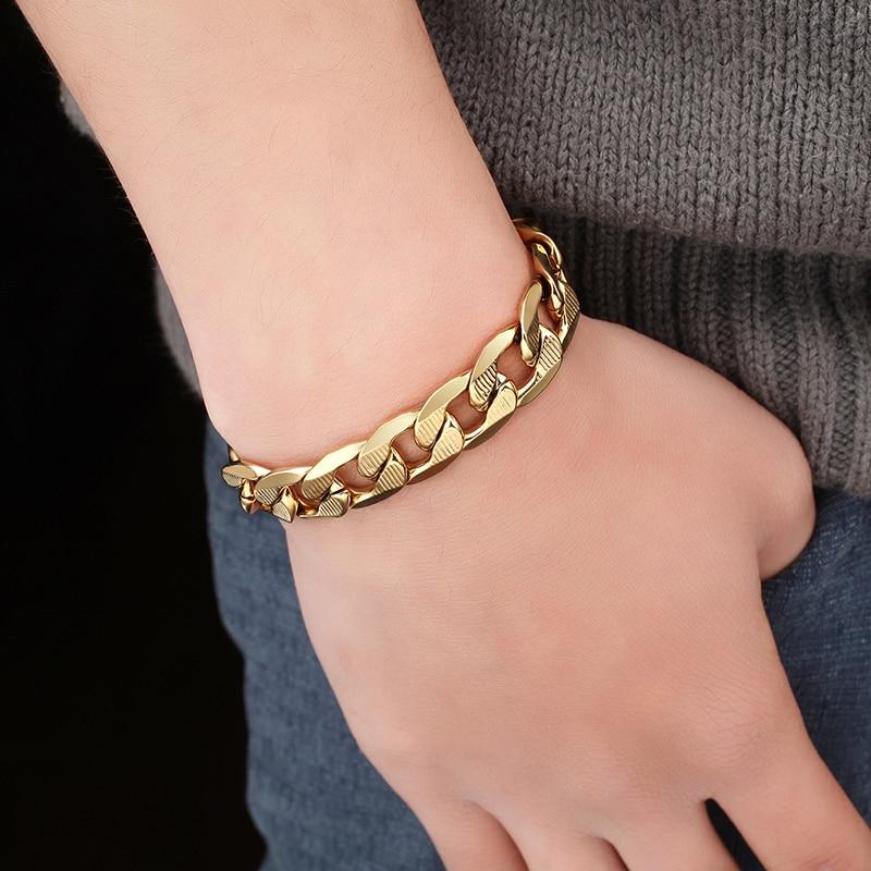 12mm masculino curb cubana link chain pulseira para homens jóias de aço inoxidável cor do ouro masculino link pulseiras 2019, pulseira masculina