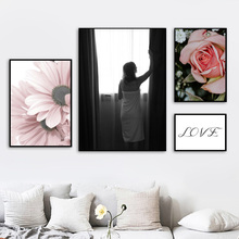 Rose Flower Girl Love Quotes Wall Art Print Canvas Painting Nordic Canvas Posters And Prints Wall Pictures For Living Room Decor moon sun quotes nordic poster wall art canvas painting posters and prints canvas art print wall pictures for living room decor