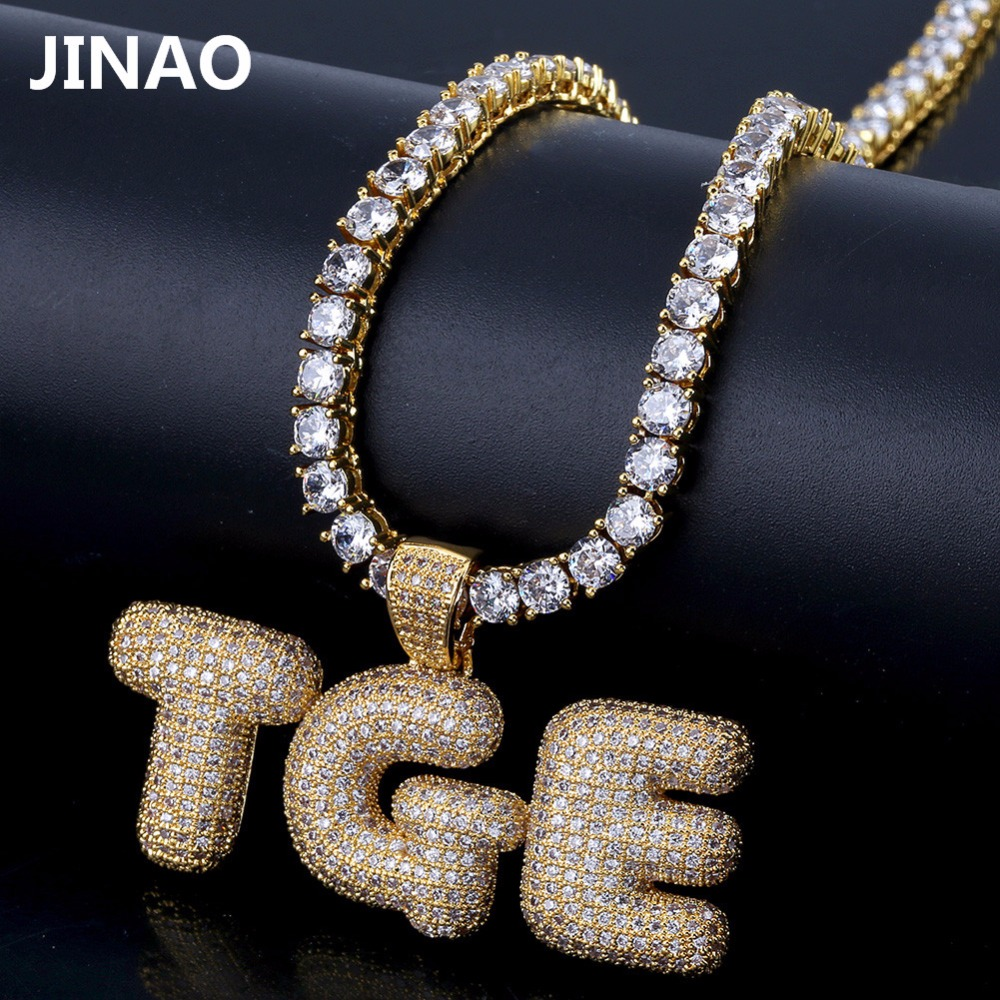 Custom Name Iced Out Bubble Letters Chain Pendants Necklaces Men's Charms Zircon Hip Hop Jewelry With Gold Silver Tennis Chain custom name bubble letters chain pendants necklaces men s zircon hip hop jewelry with 4mm gold silver tennis chain