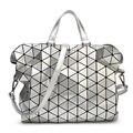 Решетки алмаза серебряный лазерная сумочка женская сумка и портфель креста тела сумка бостон сверкающих плоской проверки сумки на ремне