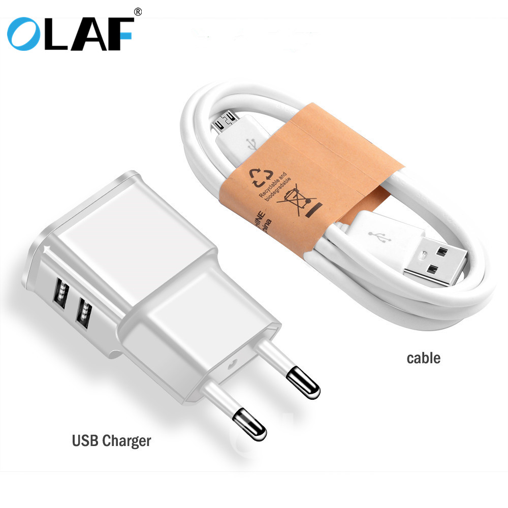 OLAF 2 Ports USB Charger 5V 2A Portable Wall Adapter Mobile Phone Micro Data Charging For Samsung Xiaomi Huawei EU Plug Chargers