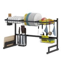 Black 65/85cm Stainless Steel Kitchen Dish Rack U Shape Sink Drain Rack Two layers Kitchen Organizer
