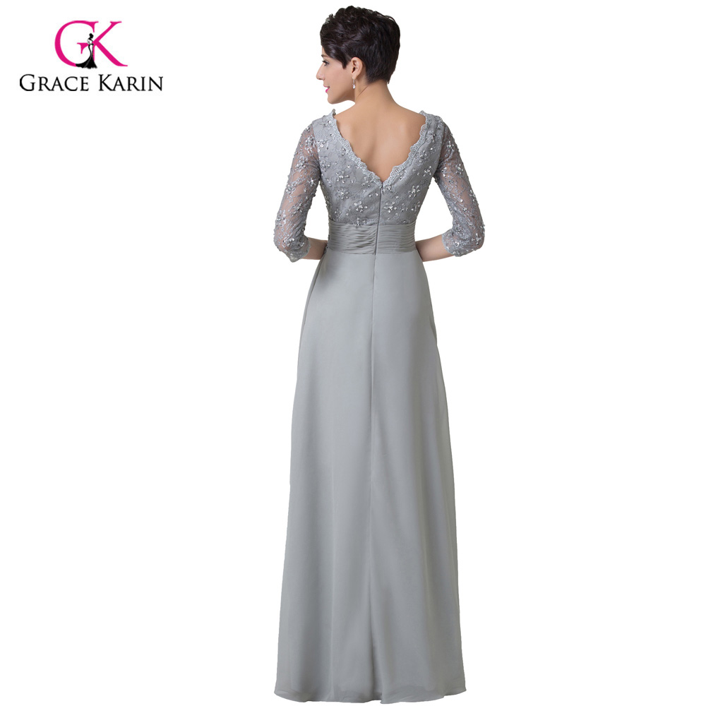 Grey Mother of the bride Dress Grace Karin Long Sleeves Evening Gown ... 631910840