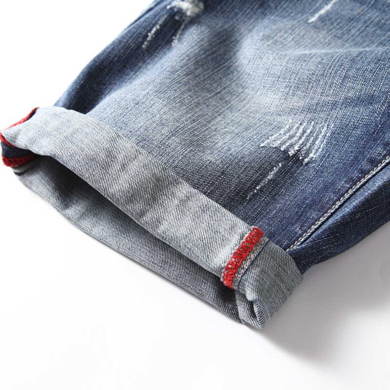 2019 الصيف نمط جديد الرجال عارضة الدنيم السراويل أزياء صالح سليم الدينيم الأزرق نحيل شورت جينز الذكور العلامة التجارية الملابس