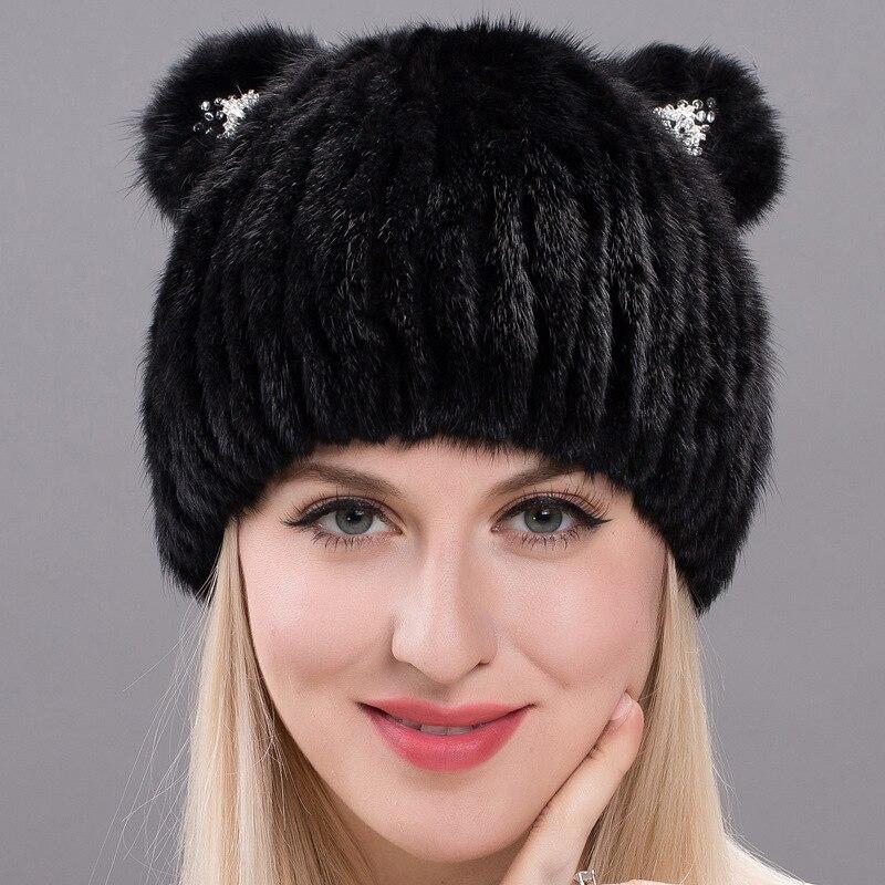 2018 New Fashion Quality Female Winter Women's Vertical Weaving Hat Genuine Natural Fox Mink Fur Cap Lovely Cat Ears Style Hats glaedwine 2017 brand very cute fox ears cat ear new women winter hat 100
