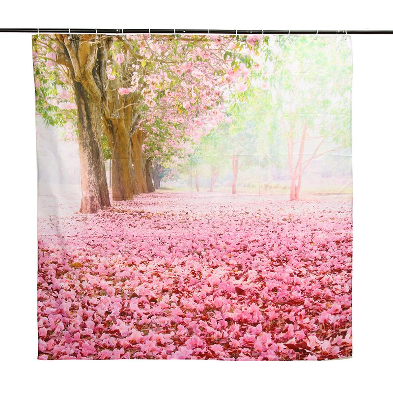 Hot Sale 180x180cm Cherry Blossom Flower Waterproof Shower Curtain Digital  Art Bathroom W/12Pcs Hooks
