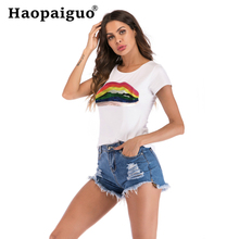 S-XXL Plus Size 2019 Summer New Women's T-shirt Korean Fashion Print Lips Loose Large Size O-neck Women Tshirts Casual Short все цены