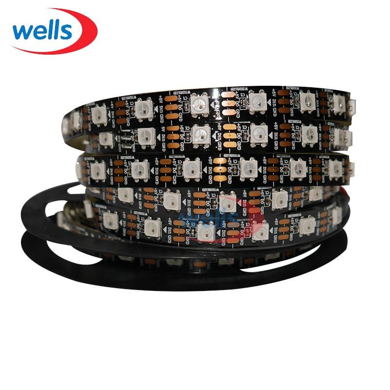 50 M 10X5 m 60 Pixels/M adressable individuellement WS2812B WS2811 5050 RGB LED bande 5 V blanc/noir Non-étanche