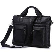 Classical Black Genuine Cowhide Men's Leather Briefcase Business Handbag Male Shoulder Tote Bag Fit For 15 Inch Laptop PR097177