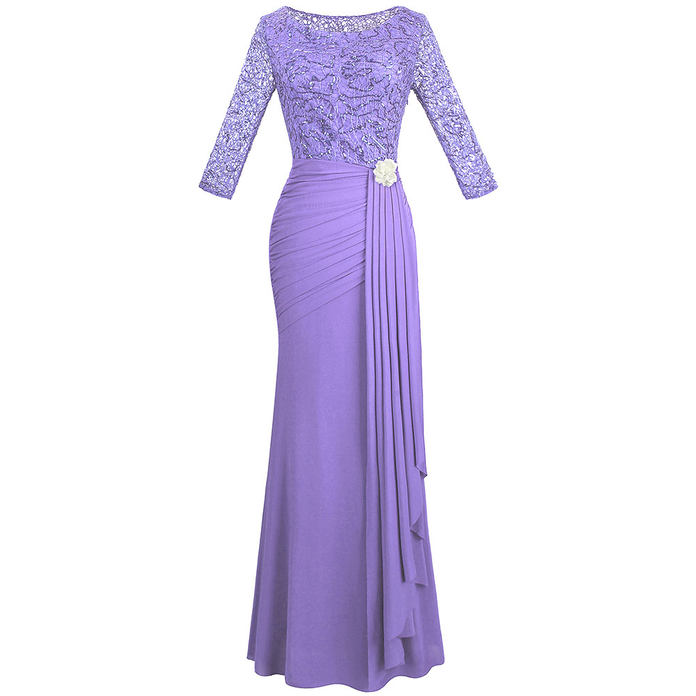 Angel-fashions Half Sleeve Sequin See Through Formal Party Long Evening Dresses 356 415 413