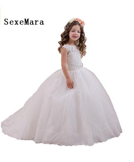 Classic Flower Girl Dress For Wedding Customized Holy First Communion Gowns with Crystals Lace Up Back Appliques Vestidos Longo