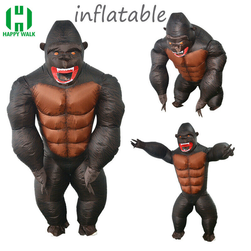 Purim Party Adult Kid Monkey Inflatable Costume King Kong Halloween Venice Carnival Dress Suit Orangutan For Women Men Costume